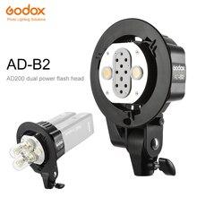 Godox AD B2 bowens montar tubos duplos luz suporte de cabeça para ad200 flash portátil speedlite