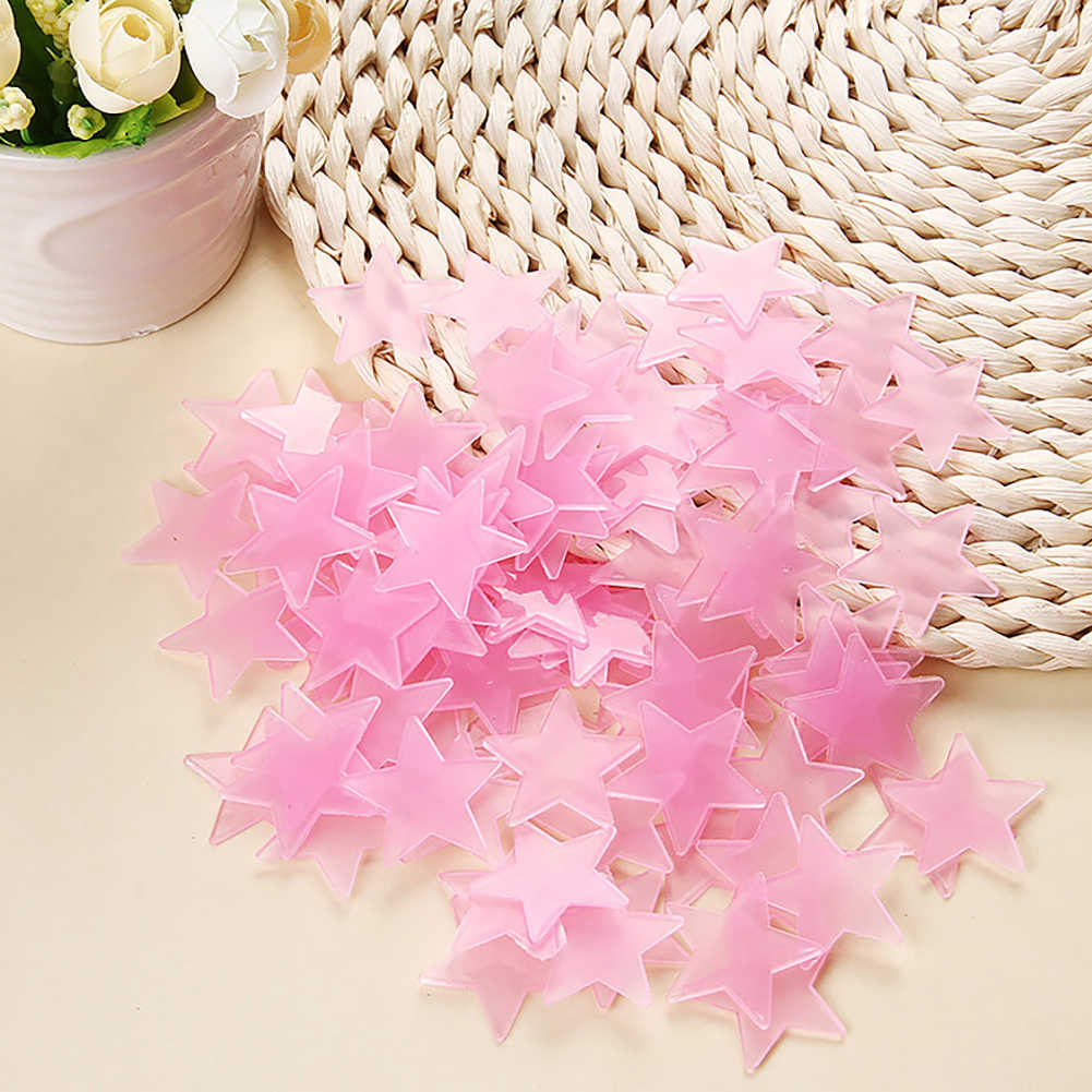 100pcs 3cm Stars Luminous Paste Fluorescent Luminous Wall Stickers Star Patch Plastic Three-Dimensional Pp Night Light Starry