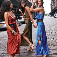 Fashion Womens Backless Sexy High Waist Split Long Maxi Dresses Slim Party Evening Beach Spaghetti Strap Dress