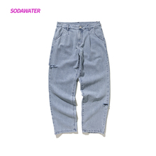 SODAWATER Girl 2019 Autumn New Arrival Denim Jeans Women Middle Waist Pants Loose Straight With Holes Casual 93355W