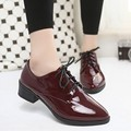 2017 spring autumn lace up oxford shoes heels british vintage patent leather shoes woman pointed toe women flats sapato feminino