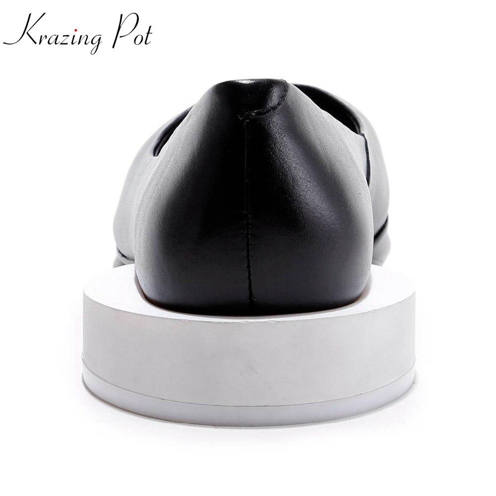 2019 Krazing وعاء جديد أزياء زائد حجم مربع اصبع القدم سميكة كعوب منخفضة الانزلاق على الصلبة preppy نمط المرأة الكعوب غريبة روما أحذية L32-في أحذية نسائية من أحذية على  مجموعة 1