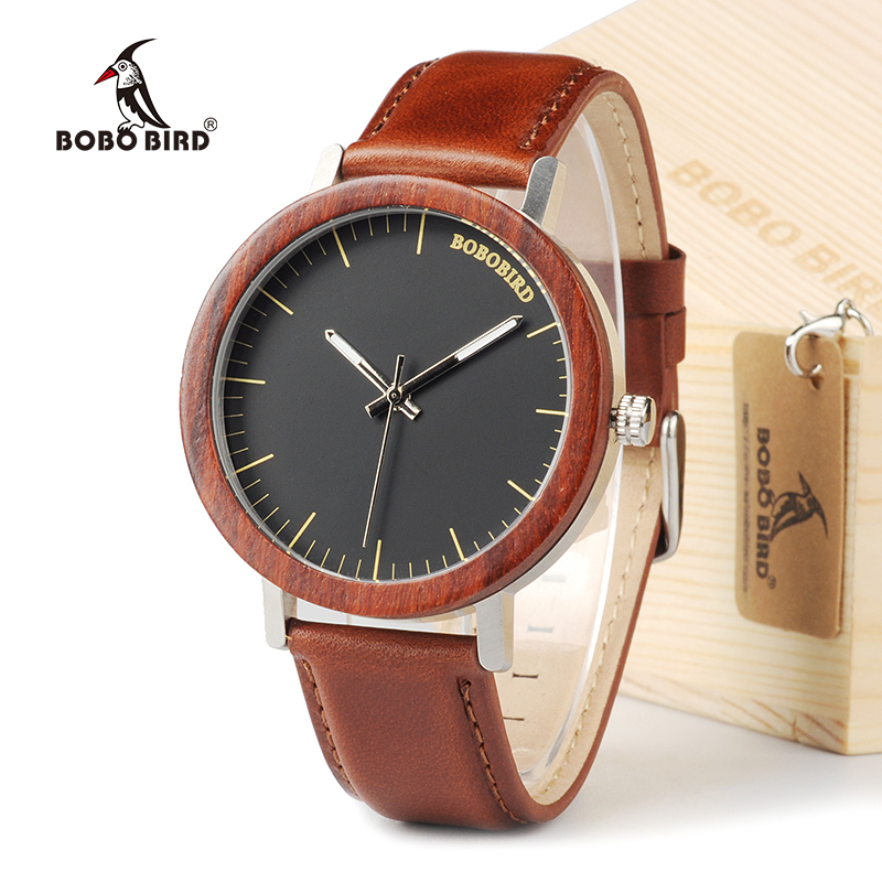 BOBO BIRD M15 Handmade Red Sandal Wooden Analog Quartz Watch Top Brand Men Dress Wristwatch With Gift Box