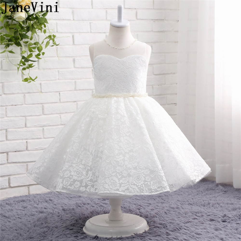 JaneVini Princess White A Line Lace   Flower     Girl     Dresses   2019 O Neck Pearls Sashes Tea-Length   Girls   Pageant First Communion   Dress