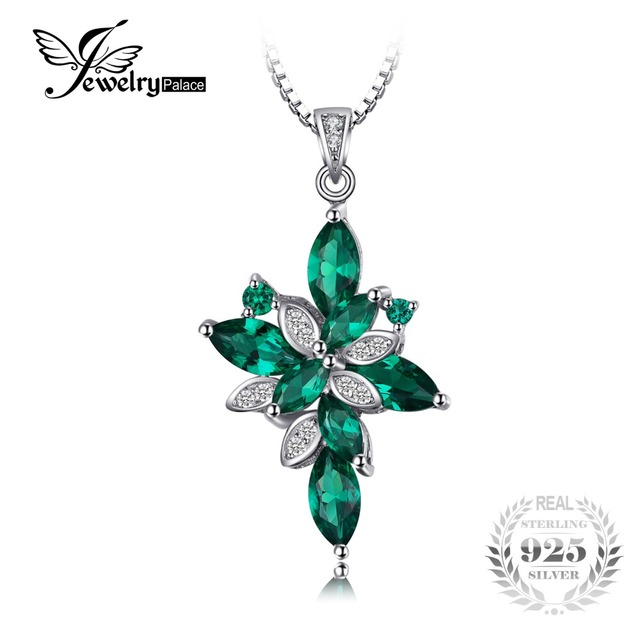 JewelryPalace Flower Shape 2.6ct Created Green Emerald 925 Sterling Silver Pendant Fine Jewelry for Women Not Include a Chain