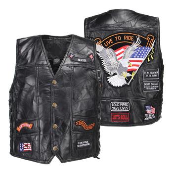Skóra motocyklowa kurtka oryginalna kamizelka mężczyzna Punk klasyczny styl motocykl kurtka Biker Club Casual kamizelka w stylu Retro Moto odzież tanie i dobre opinie HEROBIKER Skórzane Classic Style Kurtki Mężczyźni Jackets Motorycele Vest Sleeveless Jacket Motorcycle Equipment Racing Clothing Riding Vest