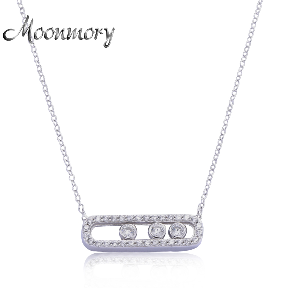 Moonmory France Jewelry 925 Sterling Silver Move Pendant Necklace With Three Move Stone Unilateral Chain Necklace