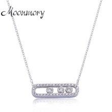 Moonmory Франция ювелирные изделия 925 пробы Серебряный ход кулон ожерелье с тремя движущимися камнями односторонняя цепочка ожерелье для подруги