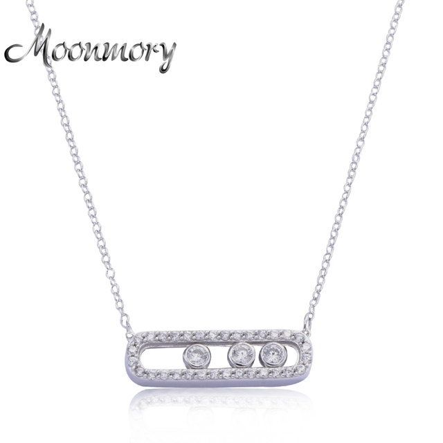 Moonmory France Jewelry 925 Sterling Silver Move Pendant Necklace With Three Move Stone Unilateral Chain Necklace For Girlfriend