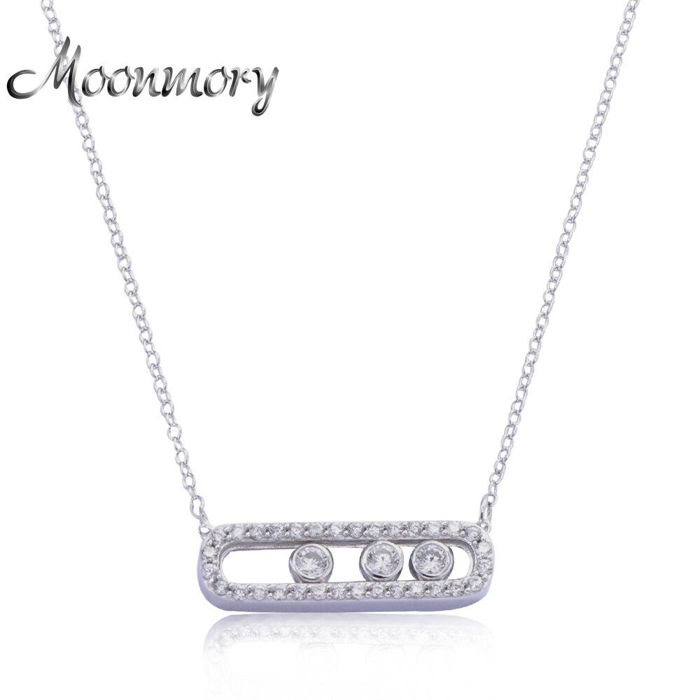 Moonmory Frankreich Schmuck 925 Sterling Silber Bewegen Anhänger Halskette Mit Drei Bewegen Stein Einseitige Kette Halskette Für Freundin
