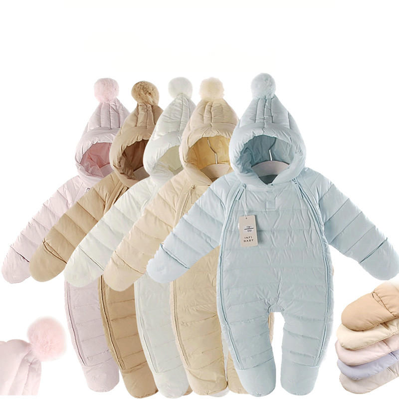 Winter Baby   Romper   Warm Snowsuits 80% Duck Down 0-2years Newborn Girls Clothing Baby Clothes Winter Boys Jumpsuits Outdoor Cloth