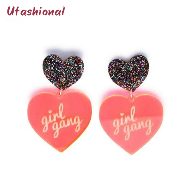 Brand Mujer Zinc Alloy Acrylic Heart Drop Earrings For Women Korean Fashion  Statement Accessories Simple Designed 24180569572b