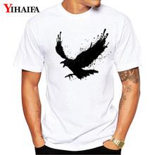 цена Summer T Shirt Mens 3D Print Tees Ink Eagle Bird Graphic Tee White Tops 3D Print harajuku t Shirts онлайн в 2017 году