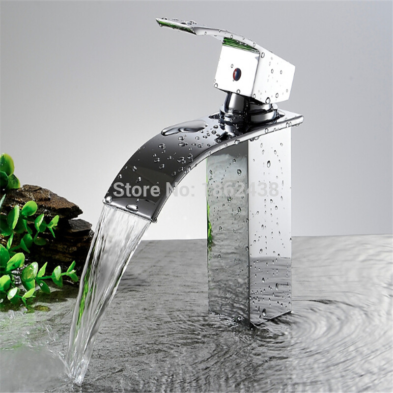 Brand New Wholesale And Retail Deck Mount Waterfall Bathroom Faucet Vanity Vessel Sinks Mixer Tap Cold