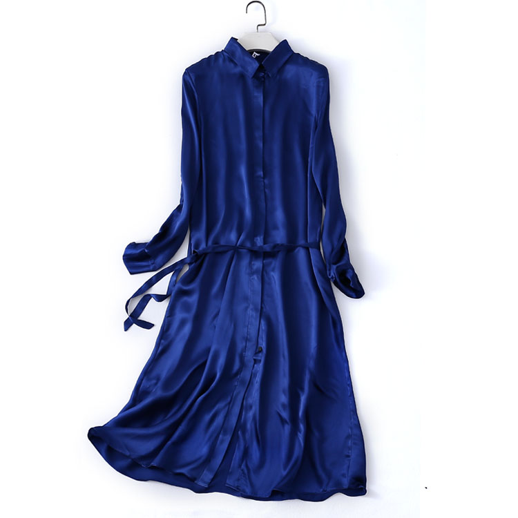 Femmes d'été robe en soie Vintage solide naturel soie robes élégant saphir robe décontracté vacances réel soie longue chemise robe