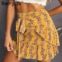 BerryGo Ruffle Boho Chic Wrap Skirt Women Floral Print Female Mini Skirt Plaid Mermaid Casual High