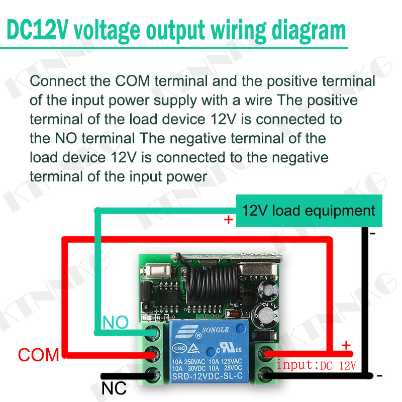 DC 12V 10A 1 Channel Remote Control Switch Wireless Receiver Relay Module for RF 433MHz Remote Garage Lighting Electric Door