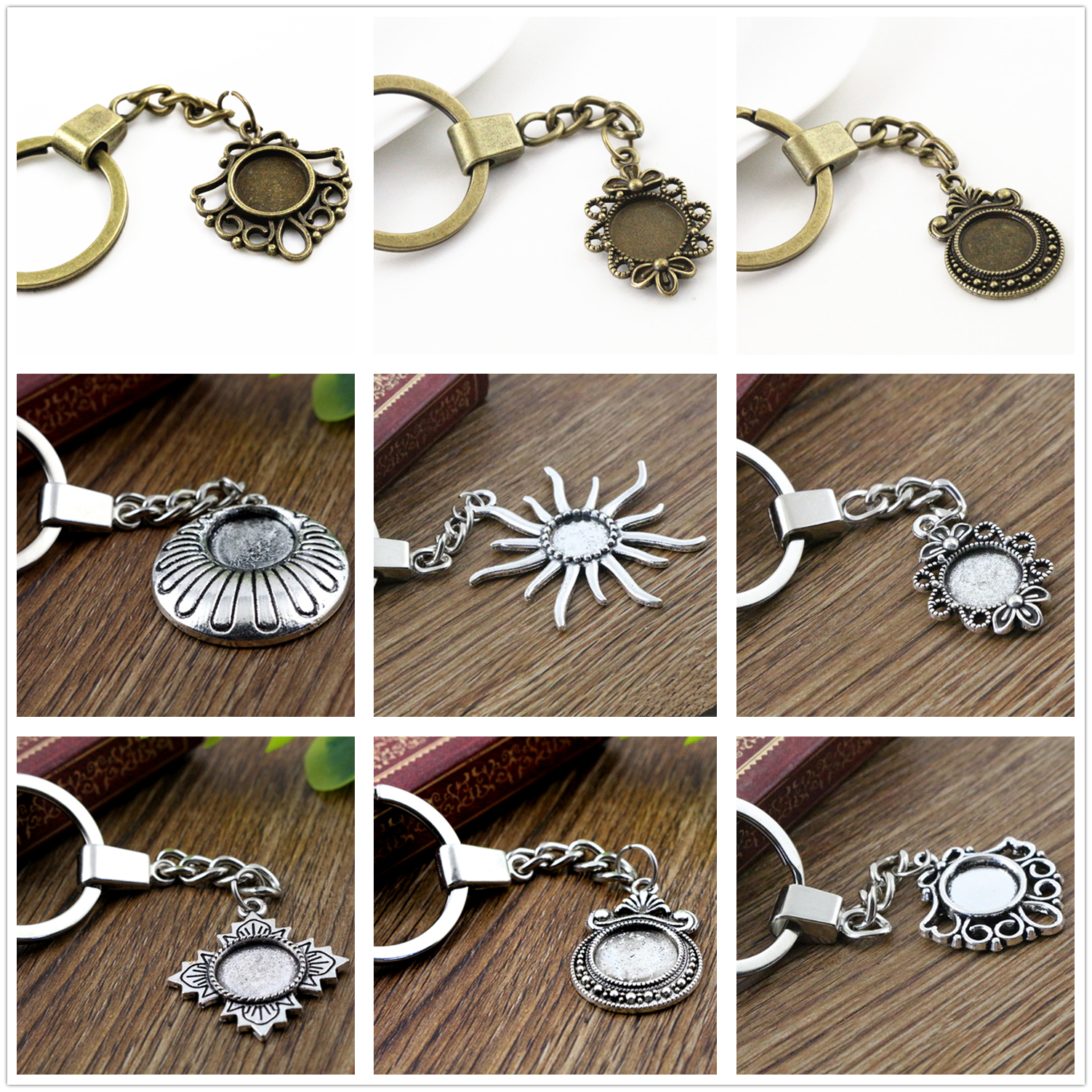 2pcs 12mm Inner Size Antique Silver / Bronze plated Cameo Setting Base;Handmade Cameo Setting, Metal Key Chains Accessor