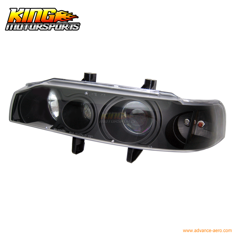 For 1990 1993 Honda Accord 1Pc Projector Headlights Black Blue USA Domestic Free Shipping