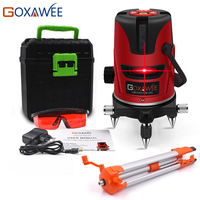 GOXAWEE Red Green laser level 360 Degree Cross Line Rotary Level Measuring Instruments 5 lines 6 points for Construction Tools