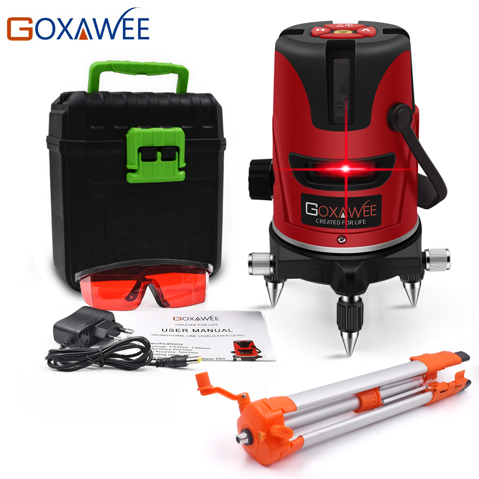 GOXAWEE Red Green laser level 360 Degree Cross Line Rotary Level Measuring Instruments 5 lines 6 points for Construction Tools 5 line red green 360 degree rotary laser level high accuracy self leveling cross meter construction level measuring tool