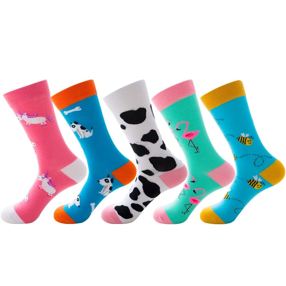 Fashion Cotton Crew   Socks   Men/women of Flamingo Puppy Cow Pattern Hip Hop Harajuku Sox Street Tide Funny Novelty British Style