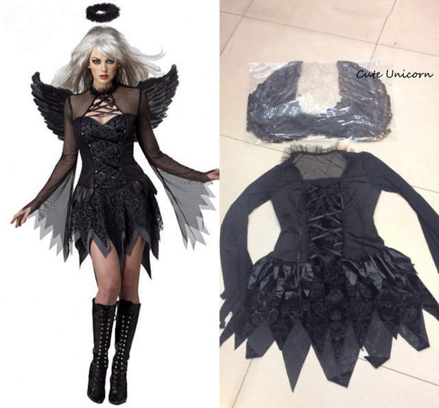Online Shop White Black Devil Fallen Angel Costume Women Sexy
