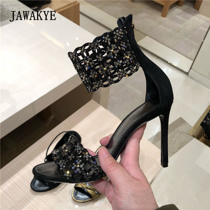 2018 Rhinestone Black Suede Gladiator Sandals Woman Open Toe High Heel Shoes Woman Diamond Ankle Strappy Fashion Party Shoes цена 2017