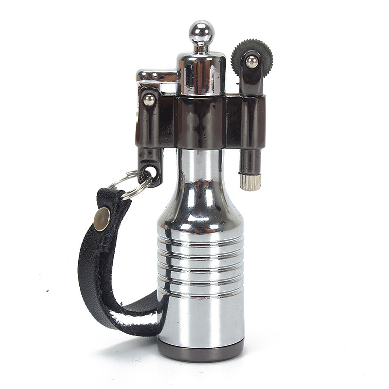 Outdoor Fire Tool Portable Shackle Lighter Personality Compact Fuel Lighter Refillable Cigarette Metal Kerosene Oil Lighter in Matches from Home Garden