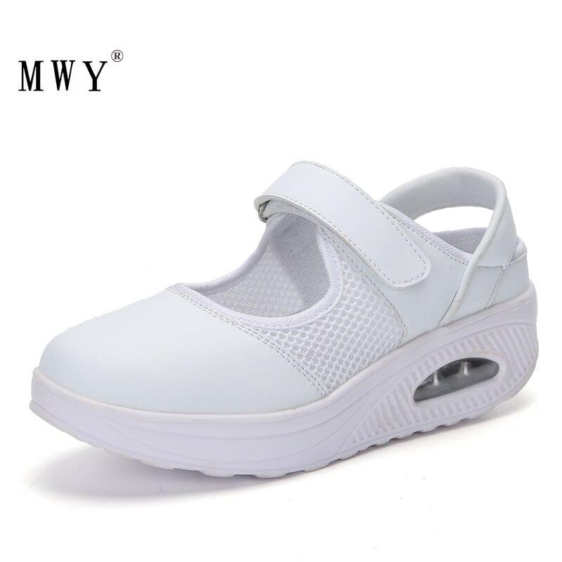 Genossenschaft Mwy Frauen Turnschuhe Plattform Atmungsaktive Mesh Air Kissen Schaukel Schuhe Schoenen Vrouw Weiß Krankenschwester Casual Schuhe Damen Trainer Frauen Schuhe