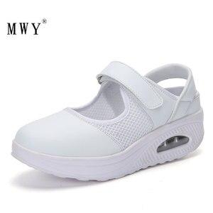 Image 1 - Кроссовки MWY женские сетчатые, дышащие, на платформе, с воздушной подушкой, повседневная обувь для медсестер, белые