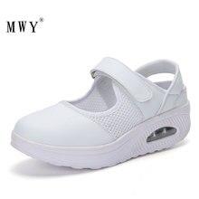 Mwy Vrouwen Sneakers Platform Ademende Mesh Luchtkussen Rocking Schoenen Schoenen Vrouw Wit Verpleegkundige Casual Schoenen Dames Trainers