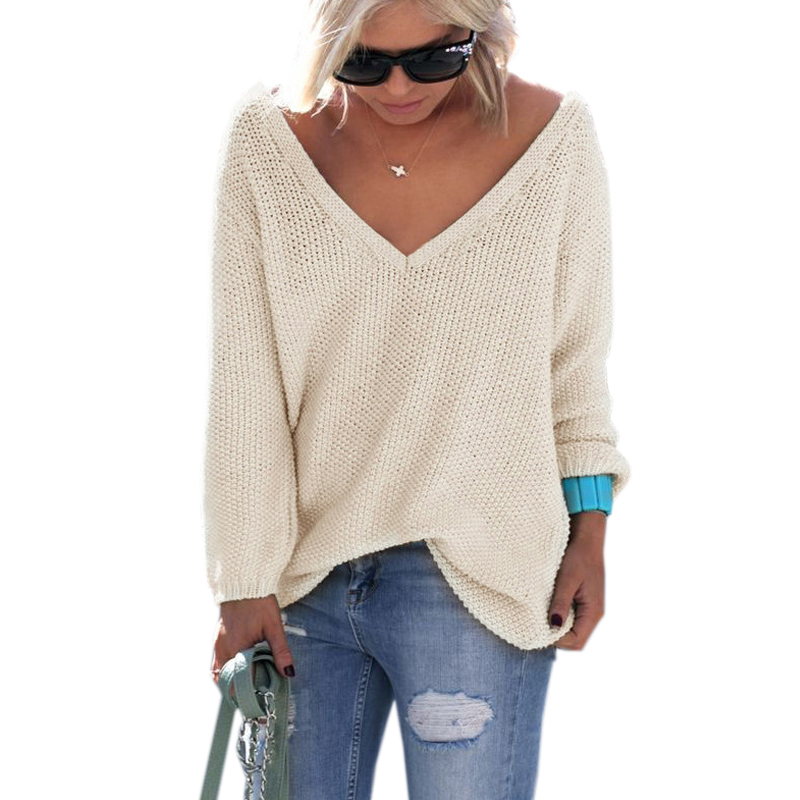 Women Sexy Elegant V Neck Loose Casual Knit Sweater ...