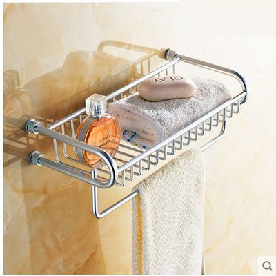 Free shipping 38.5cm Aluminum towel rack single bar bathroom basket  bathroom accessories cloth rack multifunction rack lengthened thickening bathroom towel bar single lever rack free nail