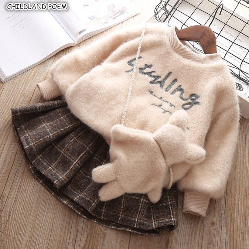 Kids Clothes Set For Girl Winter SpringToddler Baby Girl Clothes Coat +Skirt Thick Velvet Girls Clothing Set
