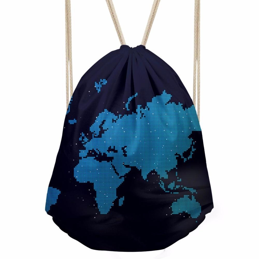 ThiKin World Map Drawstring Bag Men Retro Travel Backpacks Printed School Backpack Bags for Teenage Boys
