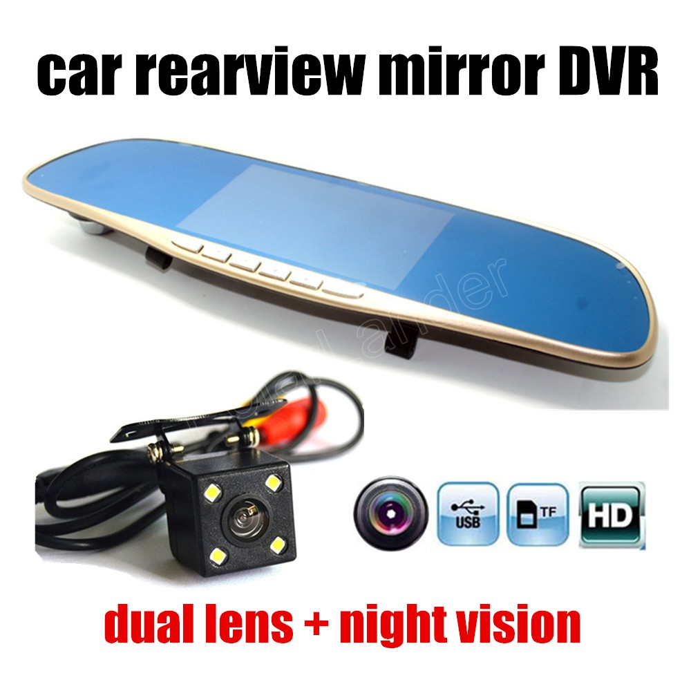 Car DVR Registrator Video-Recorder Dash-Cam Rearview-Mirror Night-Vision Full-Hd 5inch