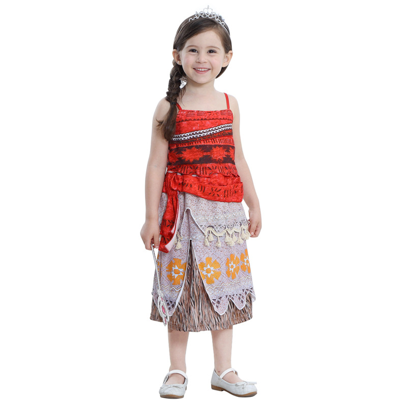 2019  Kids Carnival Princess Moana Cosplay Costume For Children Vaiana Dress Costume For Halloween Costumes For Kids Girls Gifts