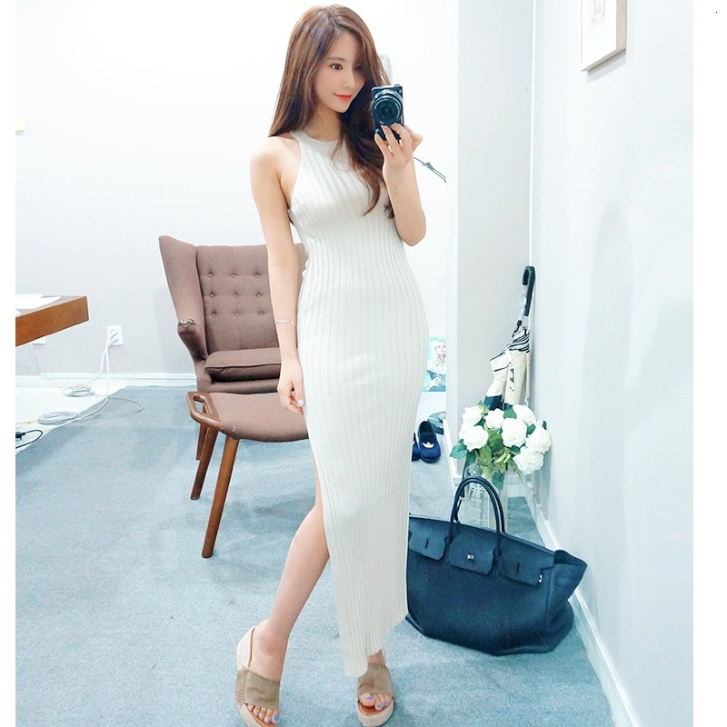 Korean <font><b>Sleeveless</b></font> <font><b>Knit</b></font> <font><b>Dress</b></font> Ladies Halter Neck <font><b>Ribbed</b></font> High Slit Bodycon Maxi <font><b>Dress</b></font> Knitted <font><b>Long</b></font> <font><b>Dress</b></font>