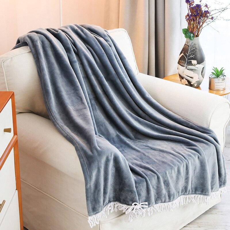 Tassel Blanket 100 Polyester Flannel Fleece Throw Blanket For