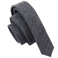 Designer Fashion 5cm Slim Ties for Men Simple Solid Black Grey Wool Fabric Neckties Narrow Casual Accessories with Gift Box