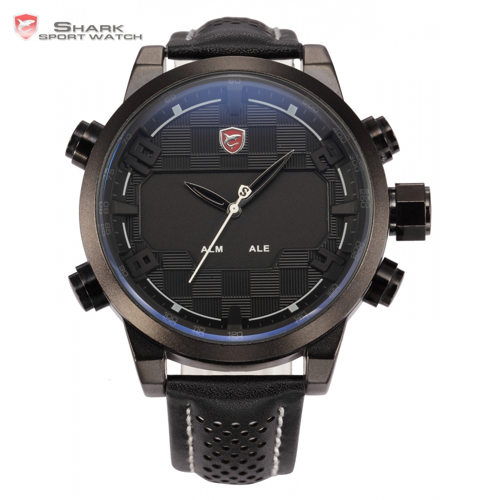 Shark Sport Watch Tag Stainless Steel Case Dual Time LED Auto Date Alarm Digital Leather Strap Black White Men Kol Saati / SH205 sawback angel shark sport watch mens black yellow digital dual movement 3d logo steel case led watches leather wristwatch sh204