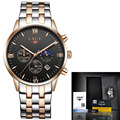 LIGE Luxury Brand Moon Phase Waterproof Full Steel Quartz Watch Man Business Fashion Watches Men relogio masculino+origin box