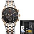 LIGE Marca de Luxo Fase Da Lua À Prova D' Água Completa Aço Quartz Watch Homem de Negócios de Moda Relógios Homens relogio masculino + caixa de origem