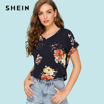 SHEIN نشمر الأكمام الأزهار أعلى 2018 الصيف قصيرة نشمر كم V الرقبة بلوزة باردة امرأة الملابس زهرة طباعة عطلة بلوزة