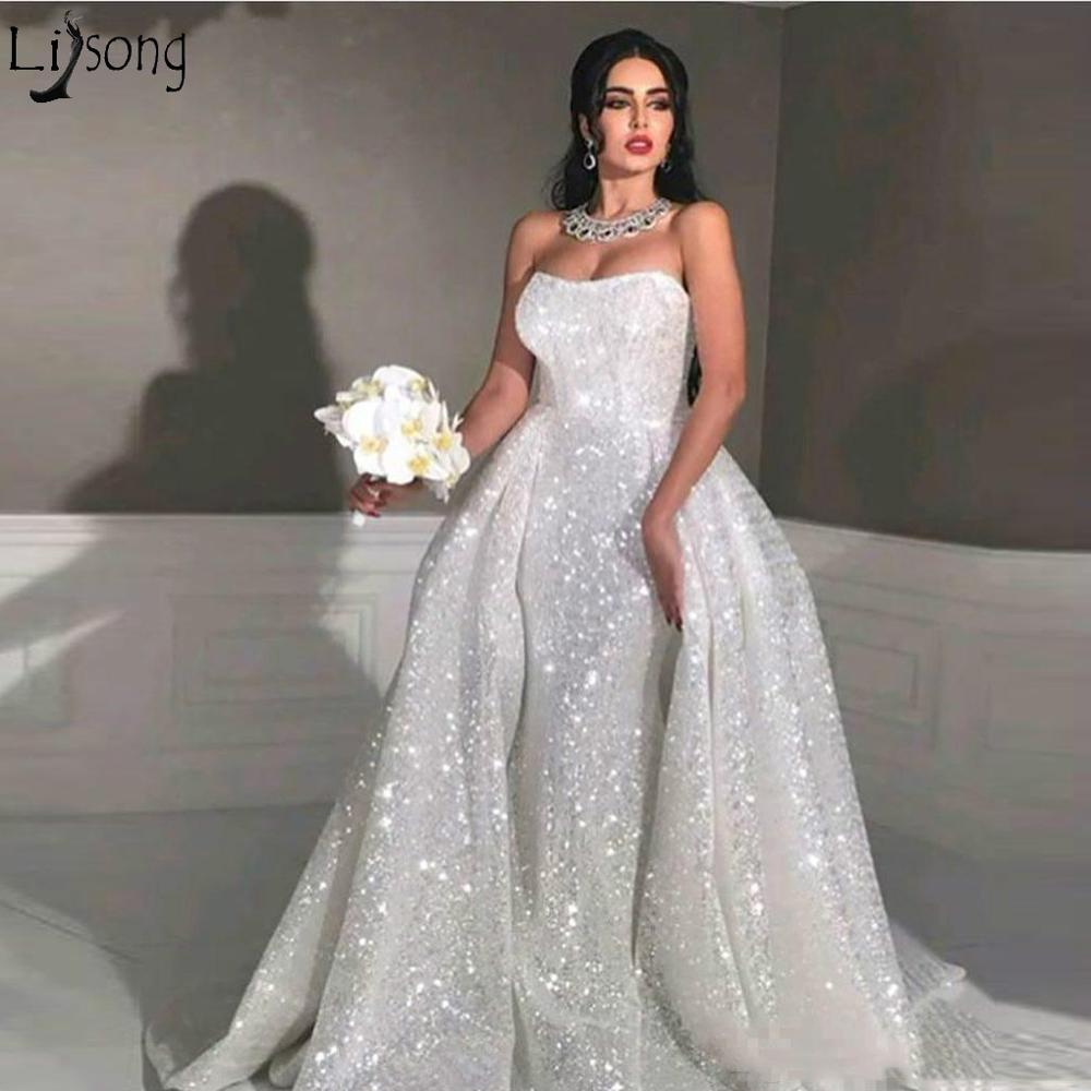 2019 Glitter Mermaid Arabic Wedding Dresses With Detachable Train Sweetheart Full Sequins Plus Size Overskirt Bridal Gowns