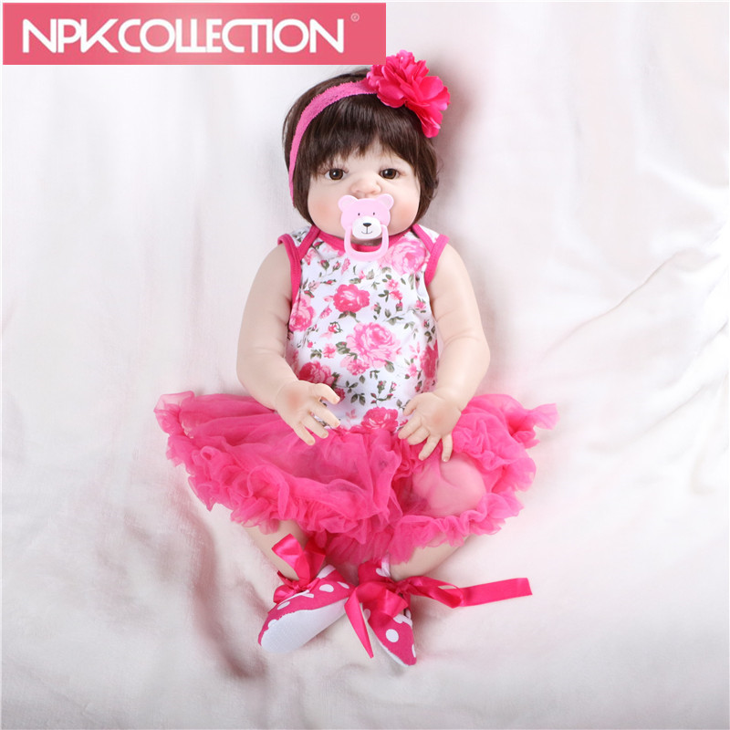 55cm Full Silicone Body Reborn Baby Doll Toy Rborn Princess Girls Babies Doll Kid Brinquedos Batealistic D103 N284-5 2016 cotton body reborn babies lifelike princess girls doll toy rooted mohair gift for baby reborn poupon brinquedos new year