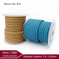Genuine Braided Split Leather Lead Free Woven Rope For Bracelet Necklace Jewelry Making Handcrafts Jewellery Accessories 5mm 20M