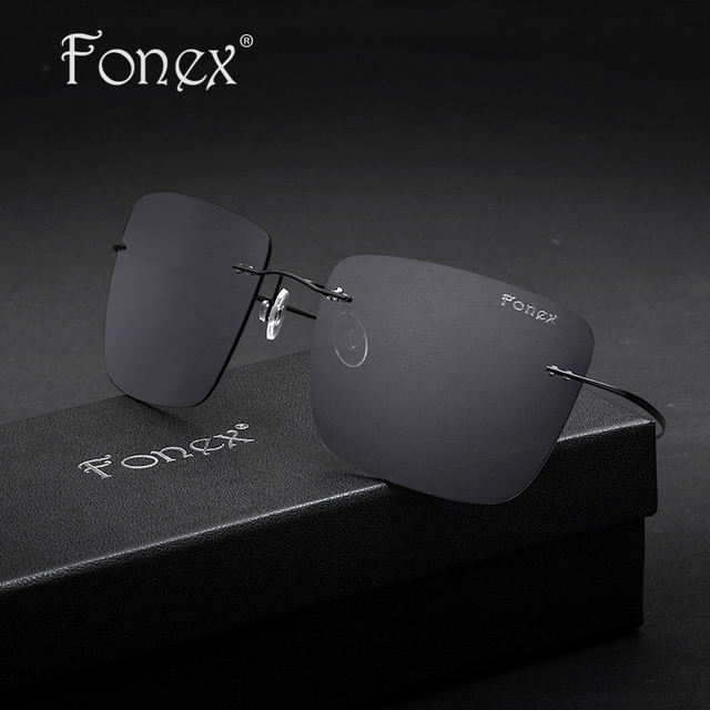 Fonex 2017 New Ultra-Light Polarized Rimless Titanium Sun Glasses Men Women Brand Designer Sunglass Sports Sunglasses F8206