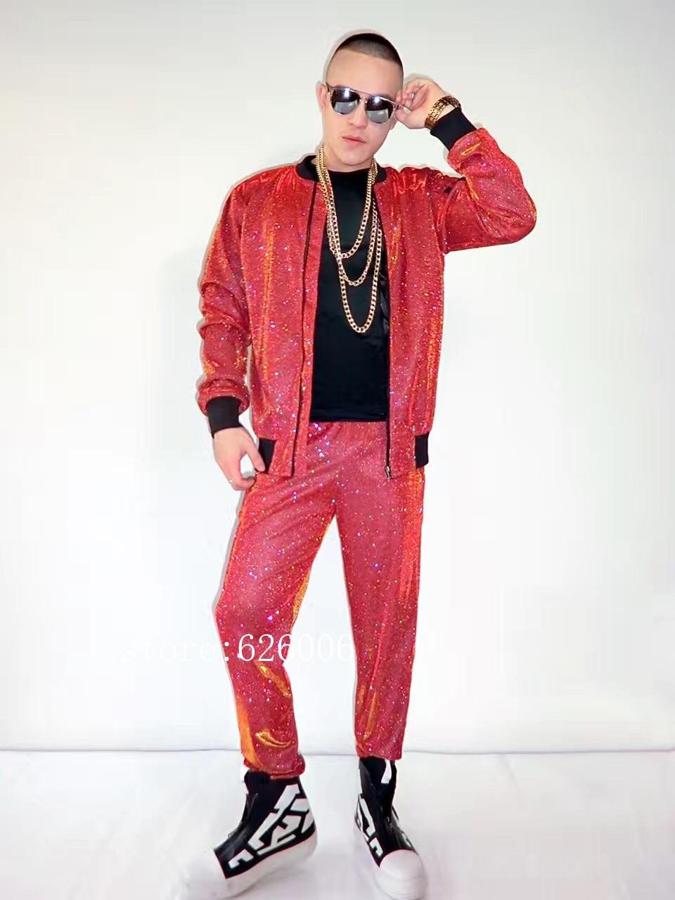 Nightclub Male Singer DJ dancer costumes red gold flash powder hip hop baseball jacket pants stage show party performance set